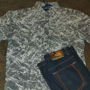 Men's shirt and jean outfit
